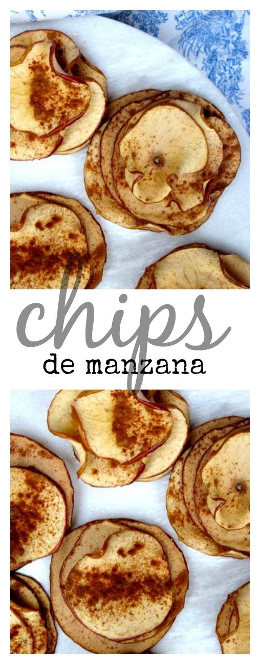 Receta de chips de manzana con canela hechas en casa.
