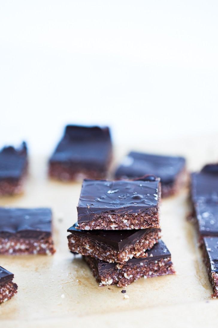 Barras de almendra y chocolate, veganas