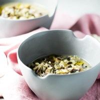 Winter soup with leeks, mushrooms and rice