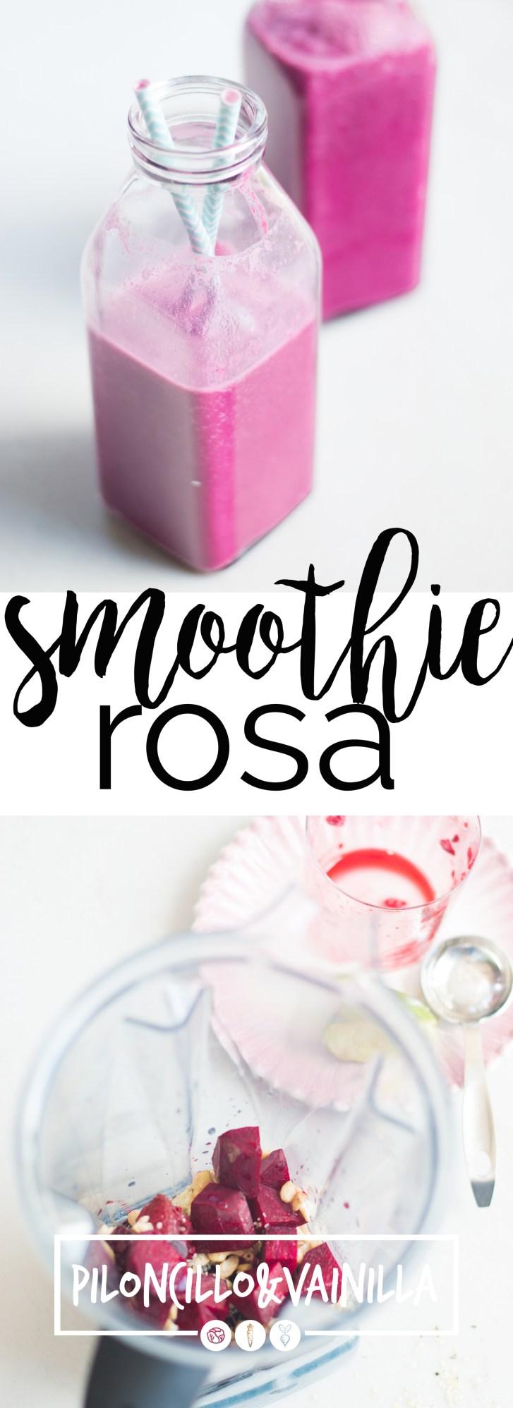 Receta para hacer un smoothie rosa lleno de vitaminas y minerales.