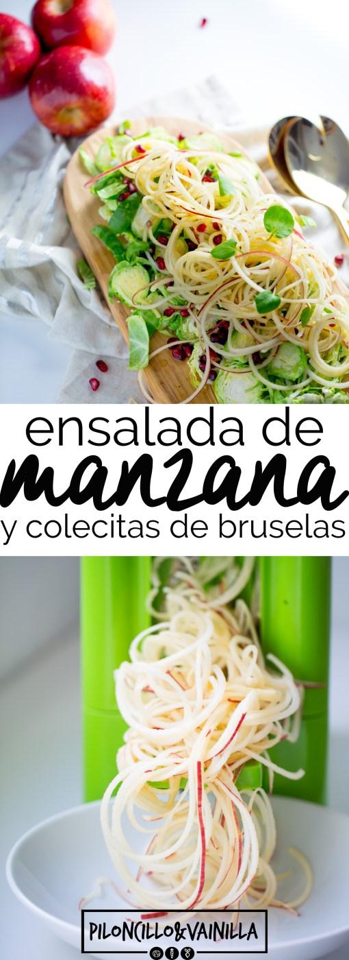 Receta de ensalada de manzana con colecitas de bruselas y aderezo balsámico. Receta vegana, receta perfecta y deliciosa.