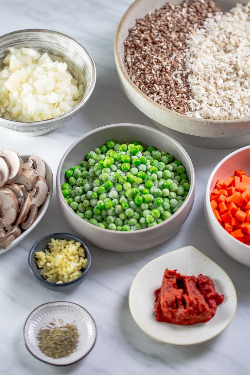 Tazones para hacer verduras para la base de shephers pay