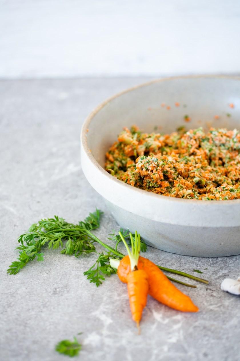 mezcla para hacer los tacos de zanahoria