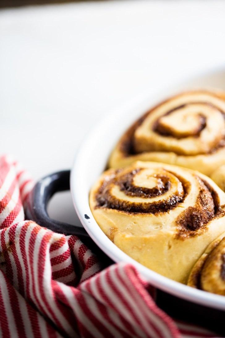vegan cinnamon rolls in a pan