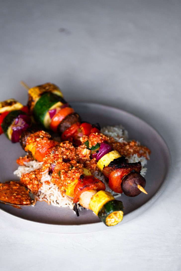 vegetable kebabs with romesco over brown rice