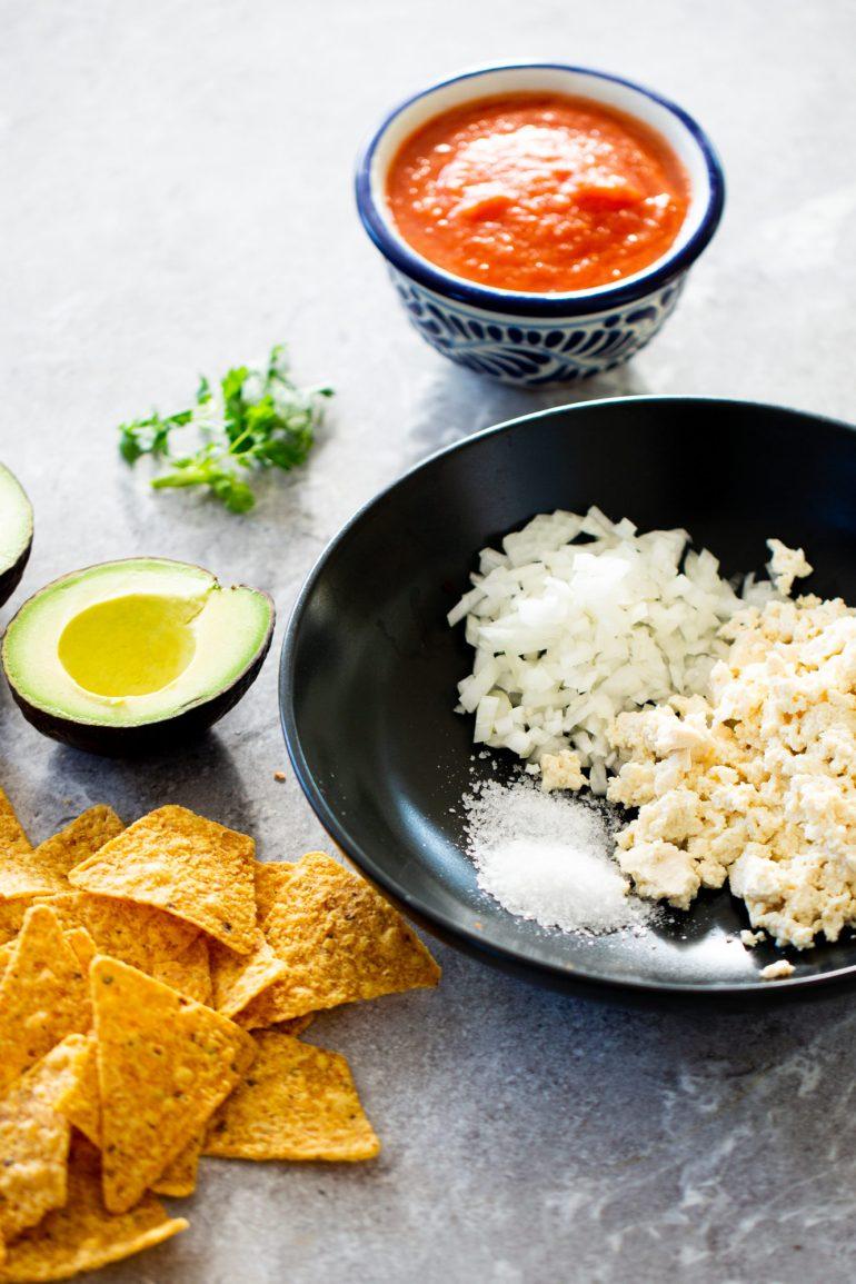 ingredients to make vegan chilaquiles