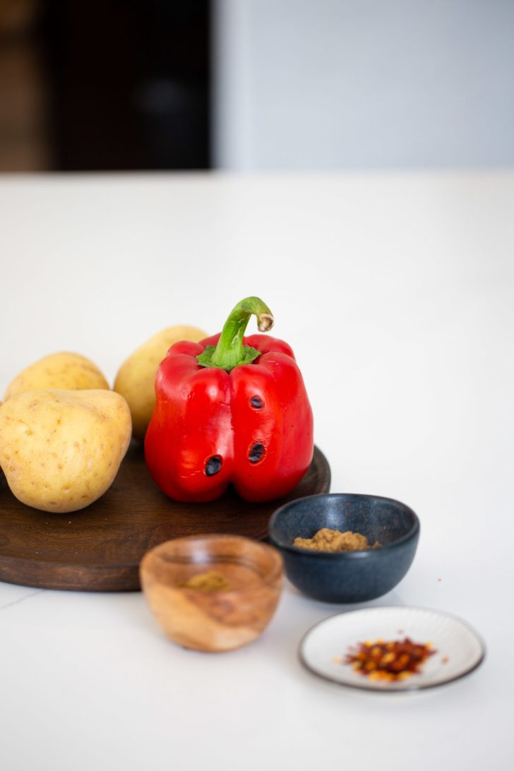 potatoes, spices and roasted red bell pepper