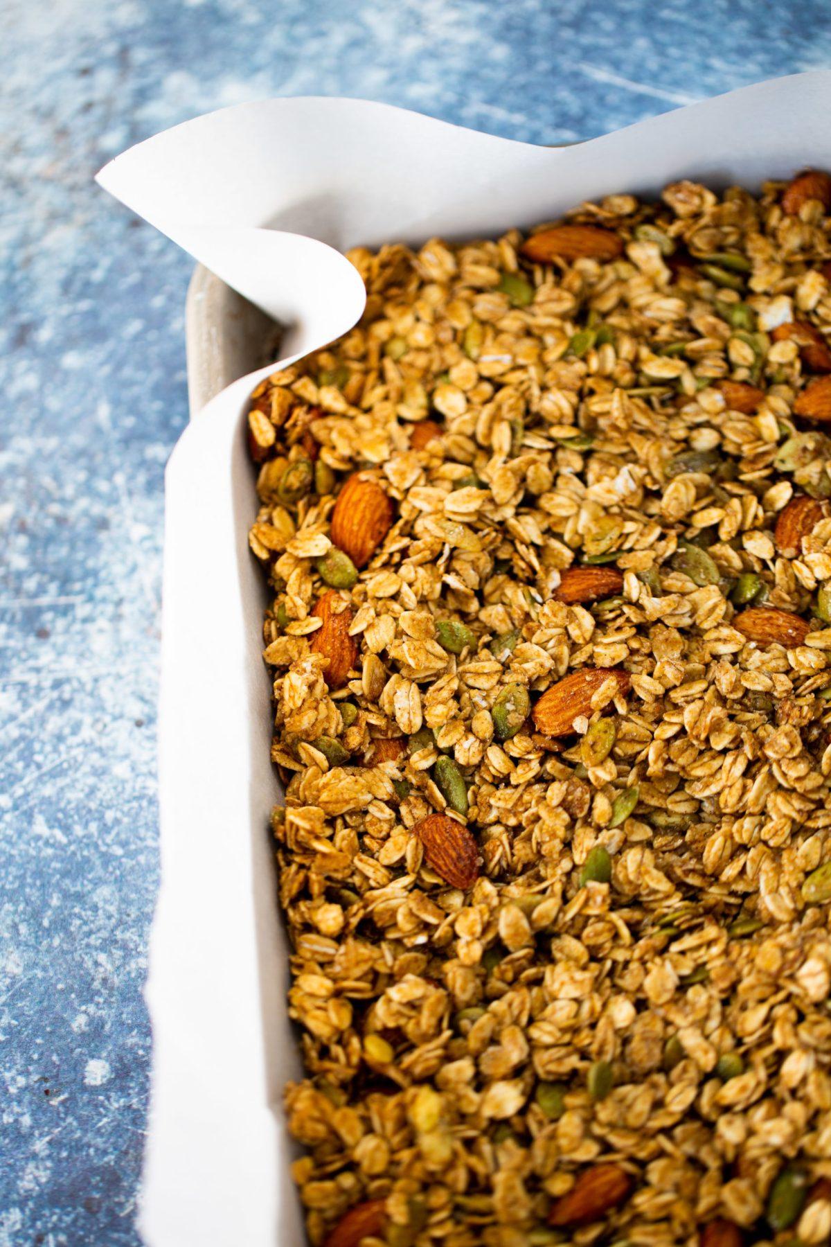granola recipen salida del horno
