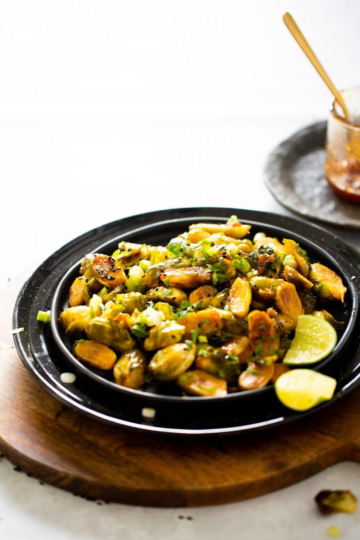 Raosted brussel sprouts with sweet and spicy sauce