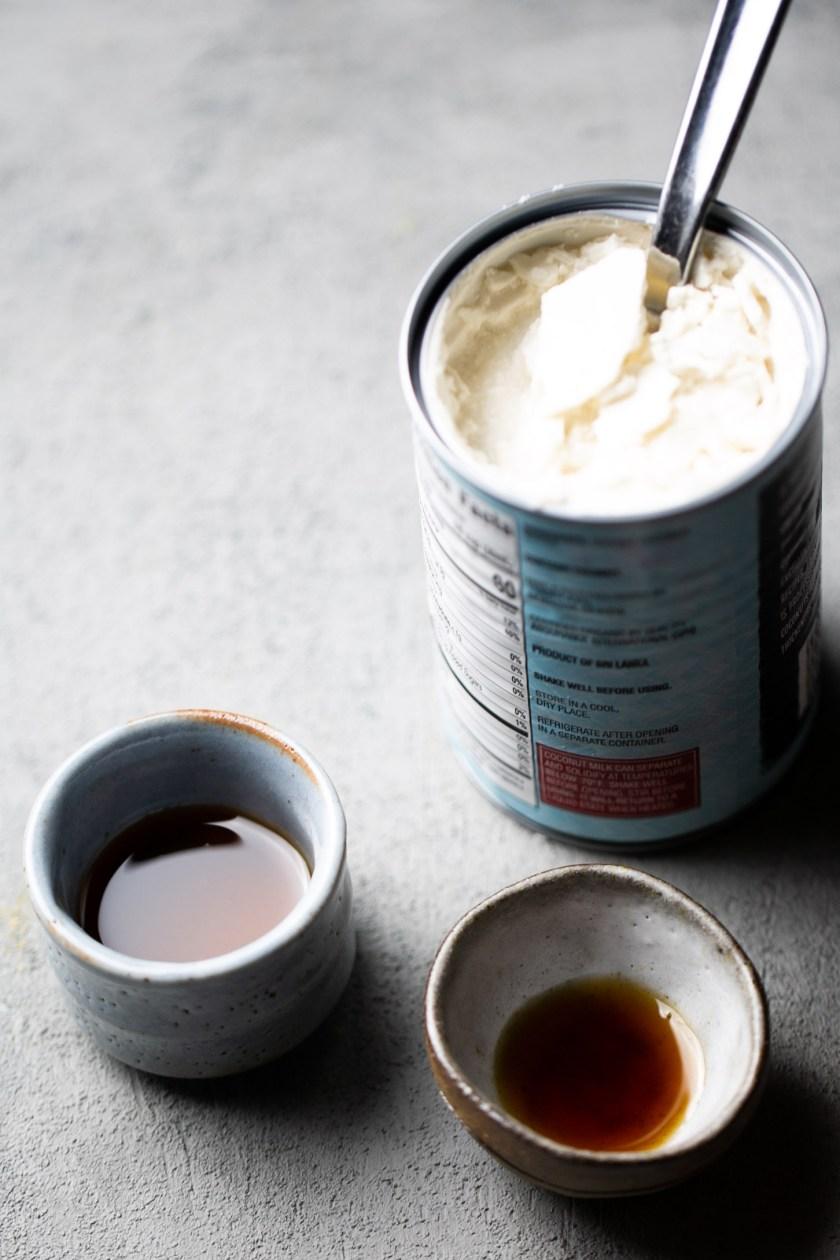 Ingredientes para hacer crema batida de coco