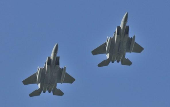 F-15's keren terug van een missie,