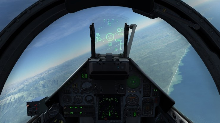 Exemple de rendu visuel du cockpit d'un Mirage 2000C sous DCS. Évidemment, la très grande majorité des systèmes est simulée