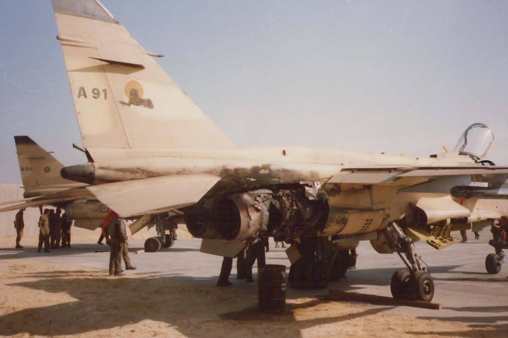Jaguar ayant été touché par un missile SA7 lors e la guerre du Golfe