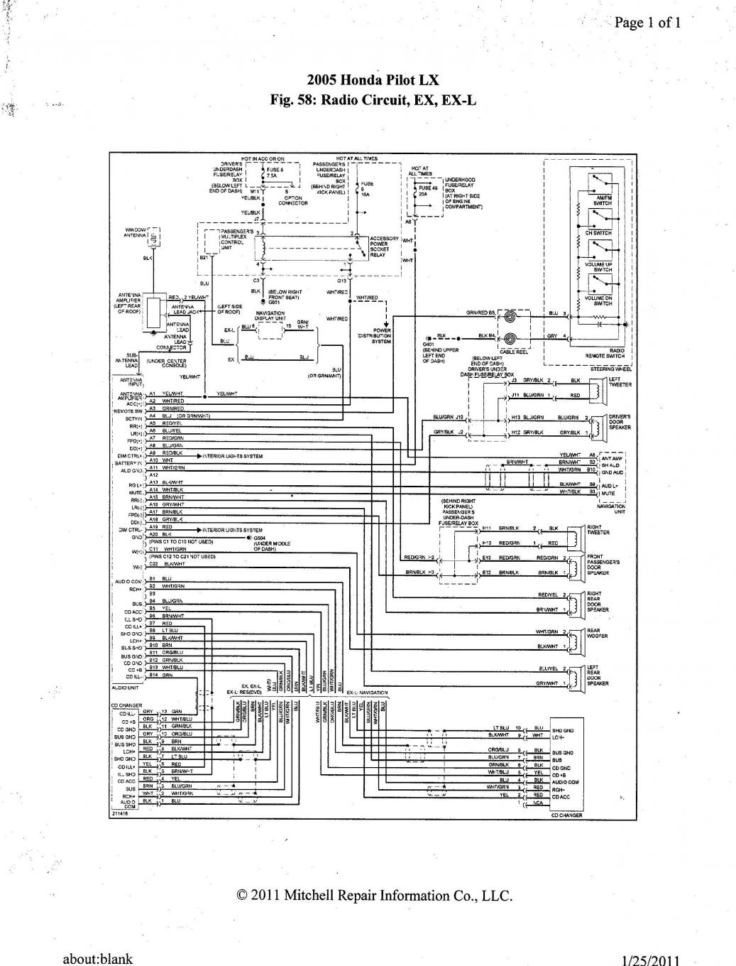audio wire diagram for honda pilot 2003