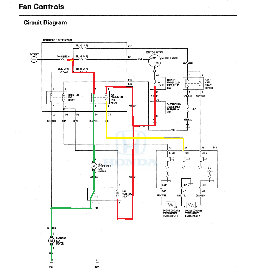 medium resolution of radiator fan not running at operating temperature honda pilot dual fan relay wiring diagram temperature cooling fan wiring diagram