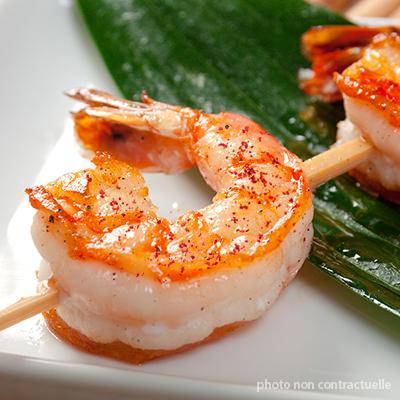 brochette de crevettes au piment d'espelette AOP