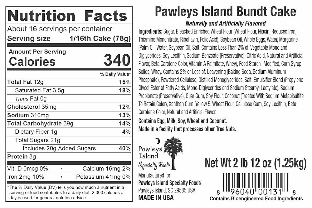 Pawleys Island Five Flavor Pound Cake