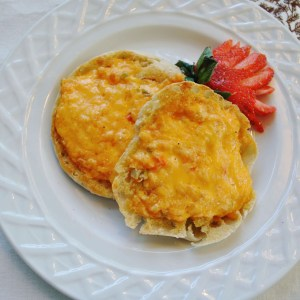 Palmetto Cheese English muffin pimento cheese