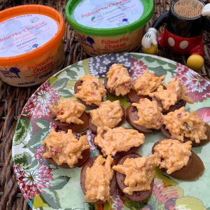 Palmetto Cheese topped Smoked Sausage pimento cheese