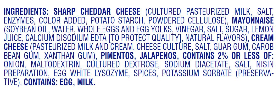 palmetto cheese jalapeno pimento cheese nutritional
