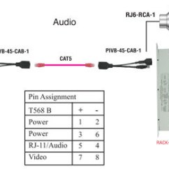 Cat5 Rj45 Wiring Diagram Single Line Of House Rj11 6p2c Plug To Rca Male Cable, 6ft, Transmit Audio Over Balun - Pi Manufacturing