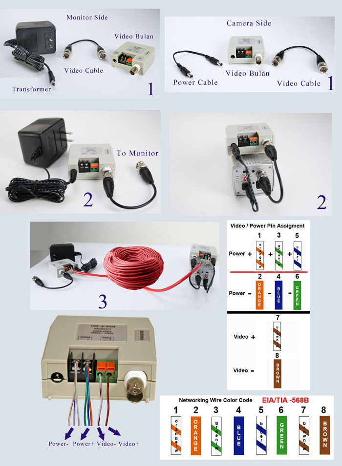 Cat5 Male Connector Wiring Passive Video Balun Terminal Type For Ccd Cameras Power