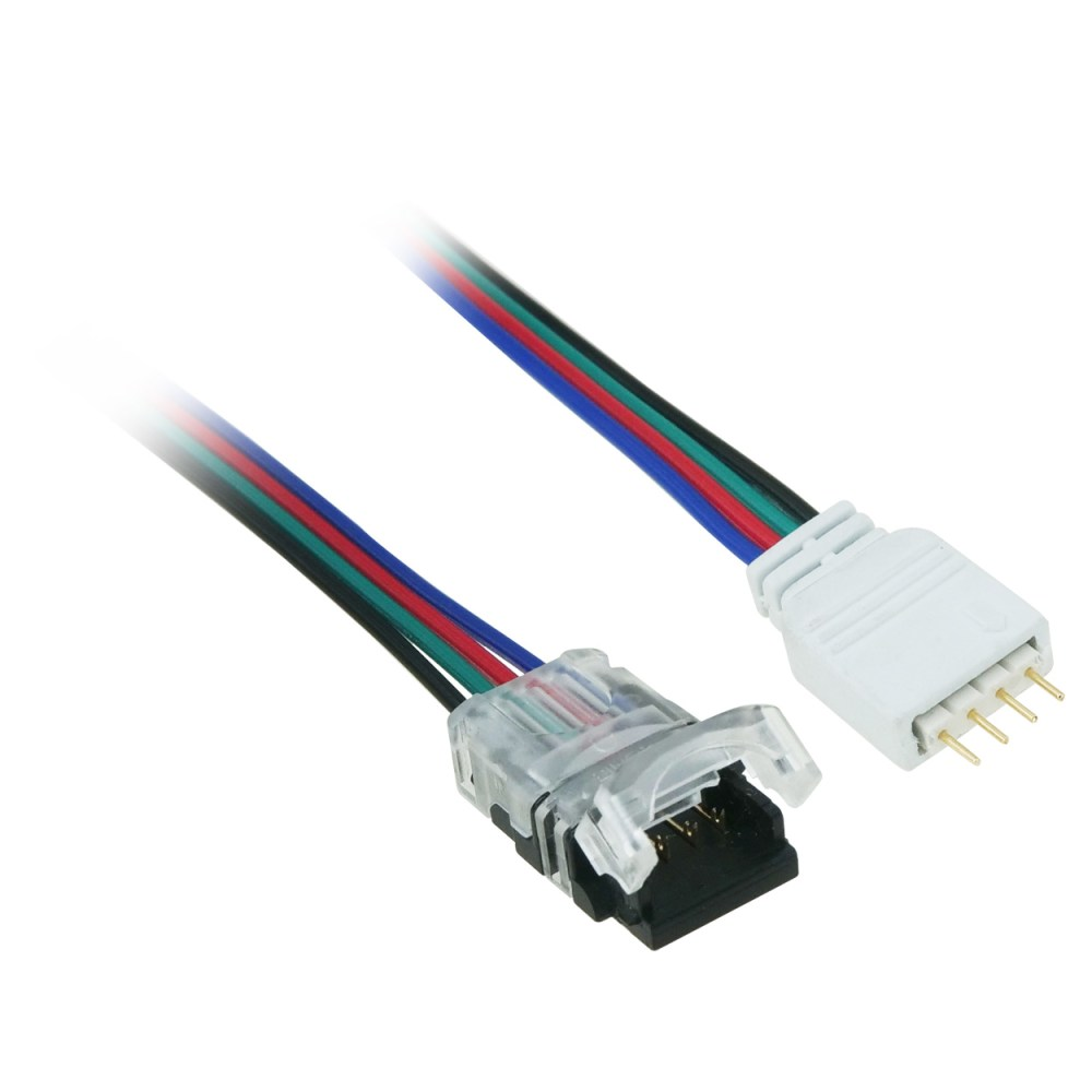 medium resolution of 1ft 4 pin led power connector to rgb led light strip cut end pi manufacturing