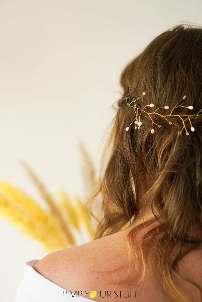 Braut Haarschmuck selber machen mit Draht und Perlen - Anleitung