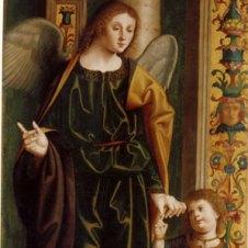 Marco Palmezzano (Forlì, 1459 - 1539), Tobiolo e l'Arcangelo Raffaele