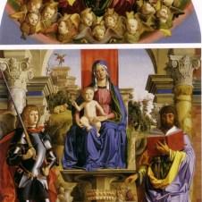 Marco Palmezzano (Forlì, 1459 - 1539), Madonna con il Bambino in trono fra i Santi Michele Arcangelo e Giacomo Minore; Adorazione dei Magi; nella lunetta Padre eterno e cherubini