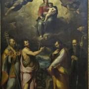 Ercole Procaccini, (Bologna, 1515 - Milano, 1595) Incoronazione della Madonna, angeli e i Santi Celestino Papa, Giovanni Battista, Luca, Benedetto