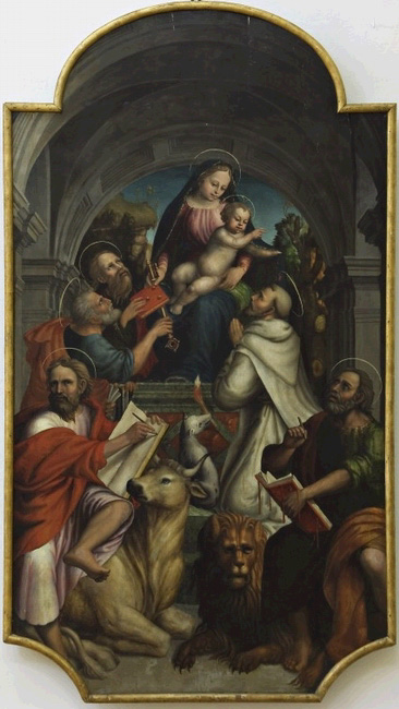 Madonna with Child and Saints Peter, Paul, Dominic, Luke, and Mark the Evangelists