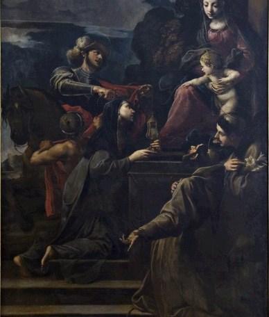 Alessandro Tiarini (Bologna, 1577 - 1668), Madonna col Bambino e i Santi Martino, Chiara, Francesco, Antonio da Padova