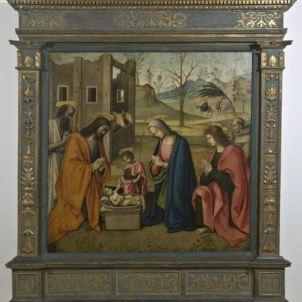 Giovanni Battista Bertucci il Vecchio (Faenza, 1470 ca. – 1516), Natività con i Santi Girolamo, Giovannino, Giovanni Evangelista e Bernardino da Siena