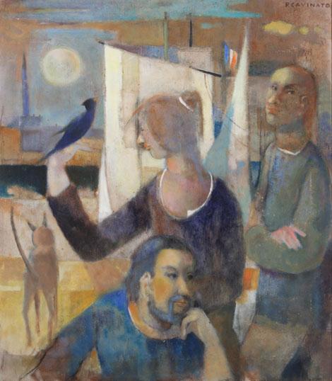 Paolo Cavinato, Figure, [1970-1980], Olio su tela, 70x80 Firmato in alto a destra
