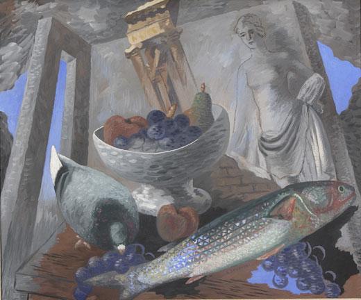 Gino Severini, Still life with ruins and fish