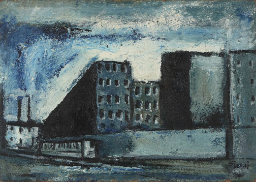 Mario Sironi, Blue Outskirts with Tram