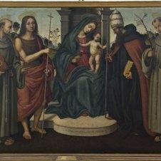 Giovanni Battista Bertucci il Vecchio, bottega di (Faenza, 1470 ca. - 1516), Madonna con il Bambino e i Santi Bernardino da Siena, Giovanni Battista, Celestino Papa e Antonio da Padova