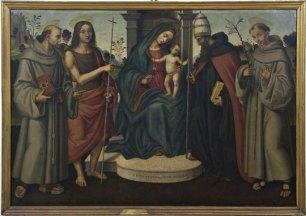 Giovanni Battista Bertucci sr., Madonna col Bambino e i SS. Bernardino da Siena, Giovanni Battista, Celestino Papa e Antonio da Padova