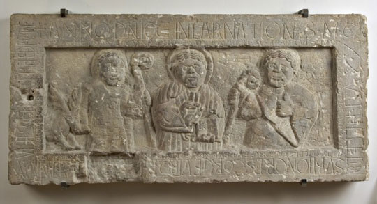 Anonymous Romanesque, Christ blessing and the Saints Giles and Eutropius