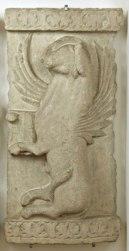 Anonimo romanico adriatico Sec. XII, Parti di ambone: leone di S. Marco e toro di S. Luca, pietra d'Istria, cm. 113x54x17 e 113x58x16, n. inv. 53