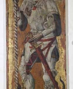 Anonimo tardogotico, San Giorgio, tavola, sec. XV, cm. 86x28, N. inv. 90