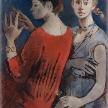 GIANNA BOSCHI (1913 -1986), Due fanciulle veste rossa e veste azzurra