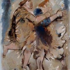 GIANNA BOSCHI (1913 -1986), Due figure: la fanciulla è di profilo, fiori d'oro nel fondo
