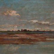 GIUSEPPE DE NITTIS (1846-1884) Tramonto sul fiume Olio su tavola, cm 19 x 26,5 Inv. n. 318 Firmato, in basso a destra: De Nittis Provenienza: donazione Golfieri, 1989