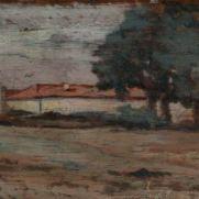 GIOVANNI FATTORI (1825-1908) Paesaggio Olio su tavola, cm 9 x 17 Inv. n. 449 Provenienza: donazione Zauli Naldi, 1956, n. 5