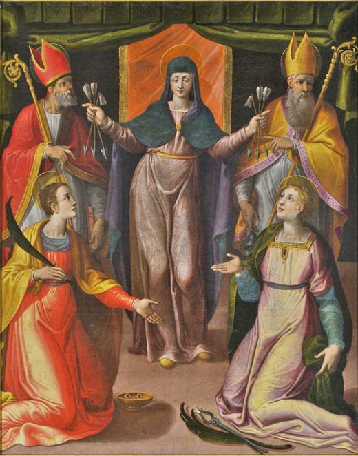 Madonna delle Grazie e i Santi Martino, Luca, Antonio Abate e Apollonia