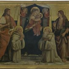 Biagio d'Antonio da Firenze (Firenze, 1446 ca. - documentato fino al 1510), Madonna con il Bambino e i Santi Giovanni Battista, Benedetto, Romualdo, Giovanni Evangelista, Girolamo e un Santo Vescovo