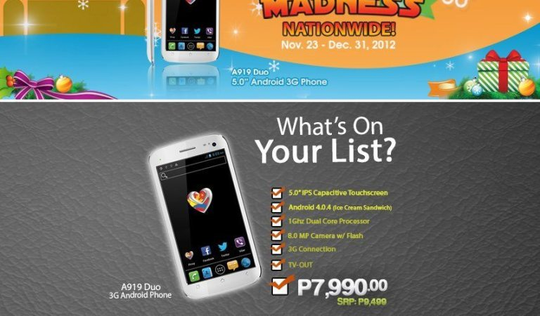 MyPhone Christmas Android Madness Nationwide: A919 and A898 Duo Included
