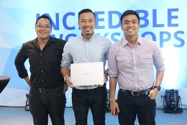 From L-R: ASUS Philippines Technical PR Manager Alvin Estacio, Jason Magbanua with the ASUS Zenbook, and ASUS Philippines PR Head Anvey Factora at the last leg of the Incredible Workshops Series.